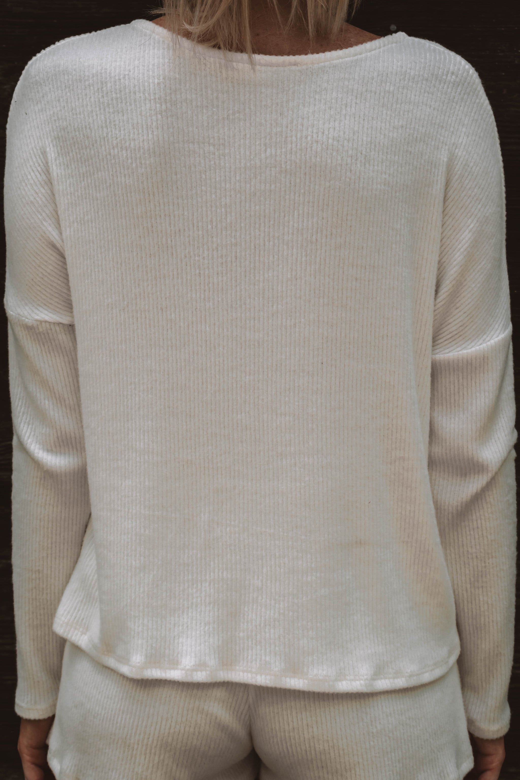 Georgie Ribbed Top - Ivory