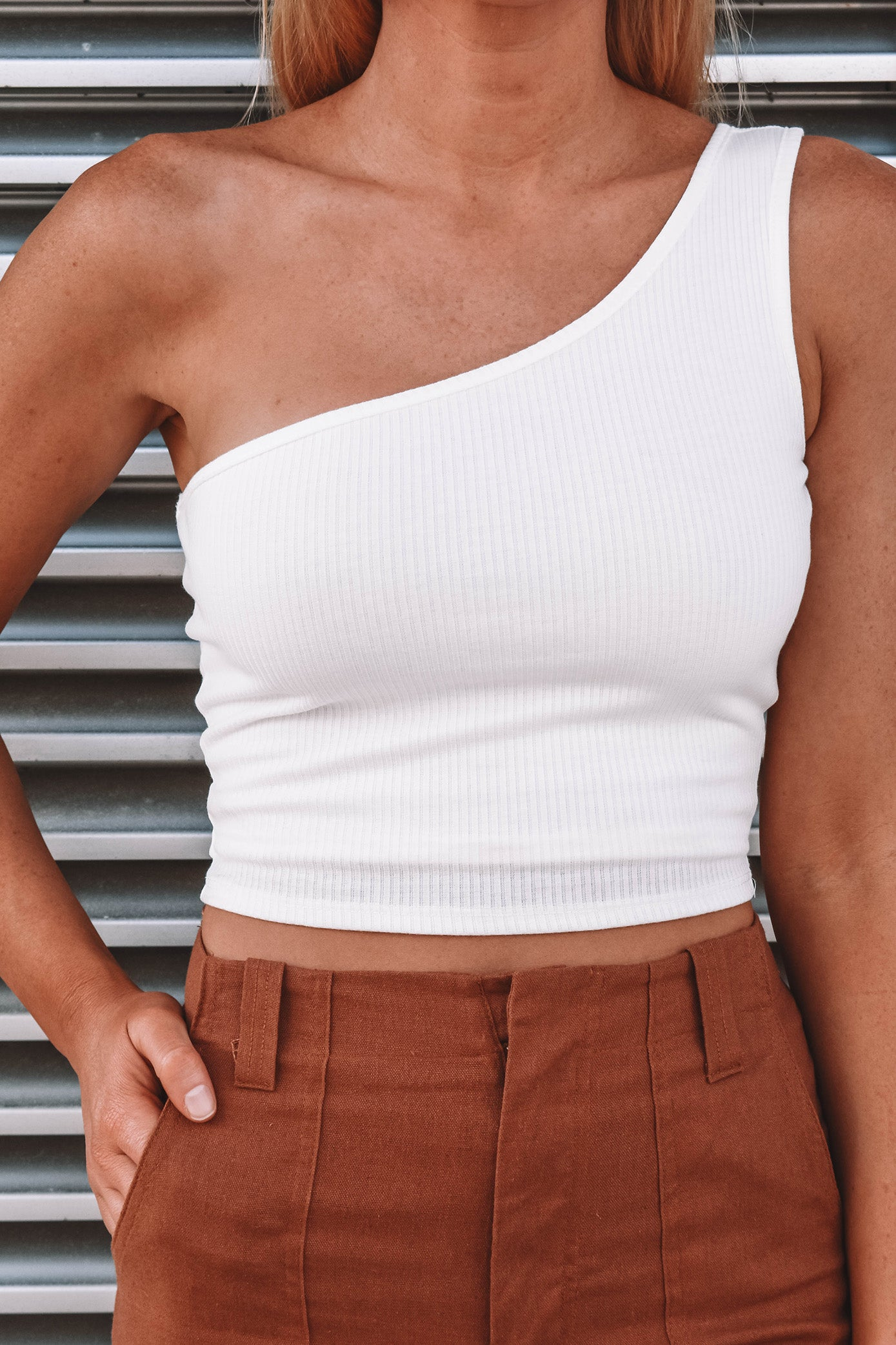 Davis One Shoulder Top - WHITE