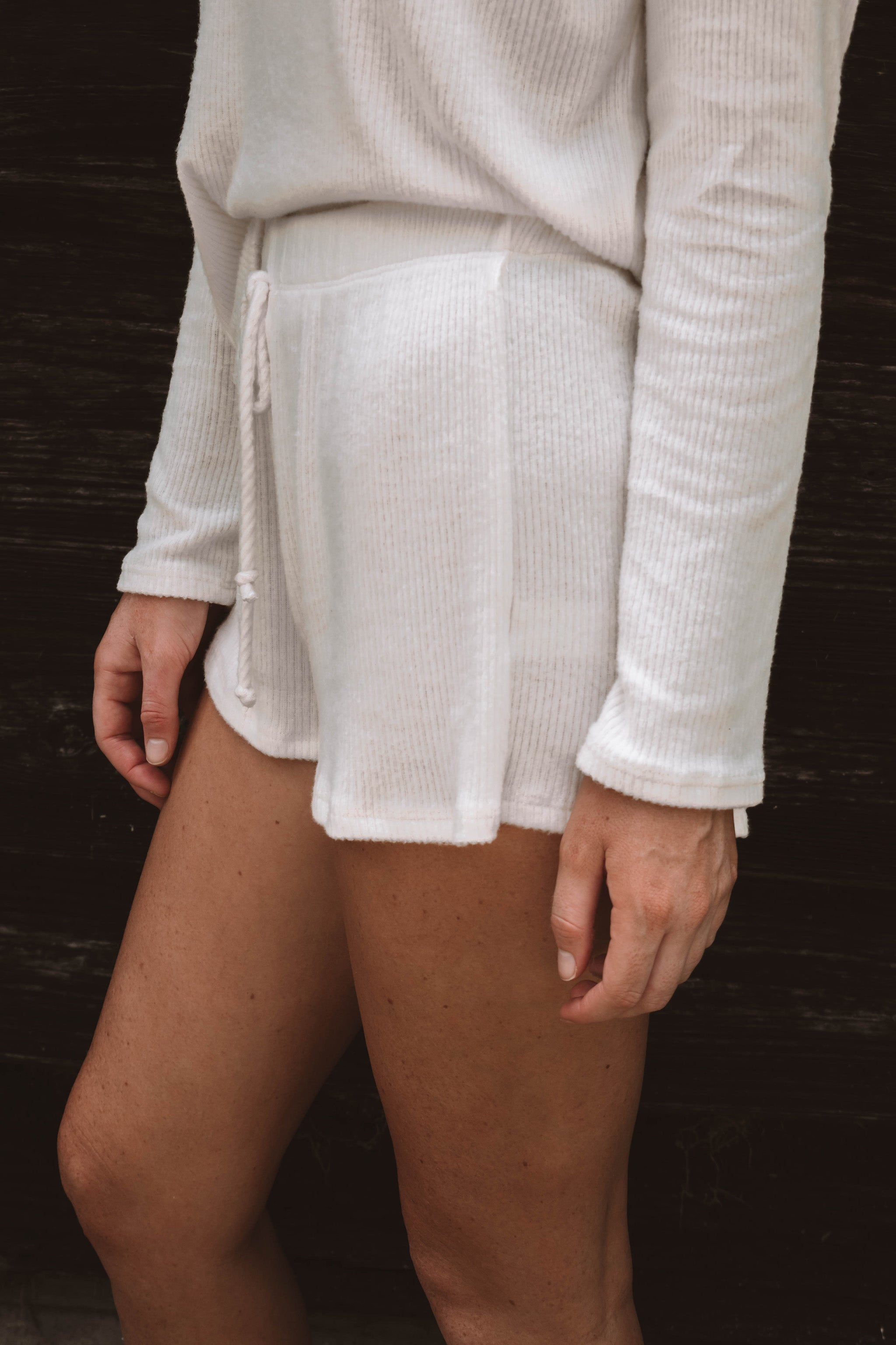 Georgie Ribbed Shorts - Ivory