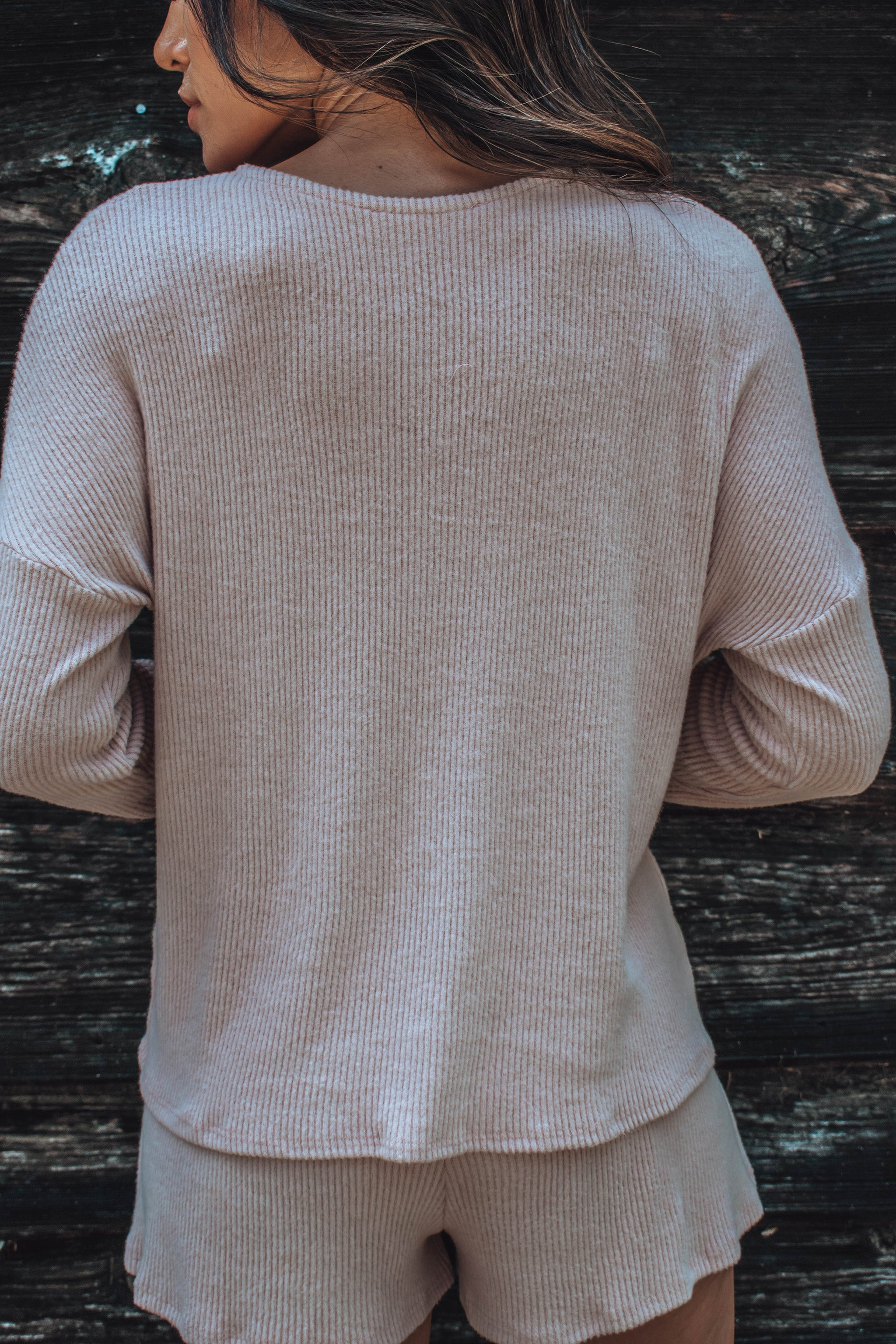 Georgie Ribbed Top - Dusty Rose