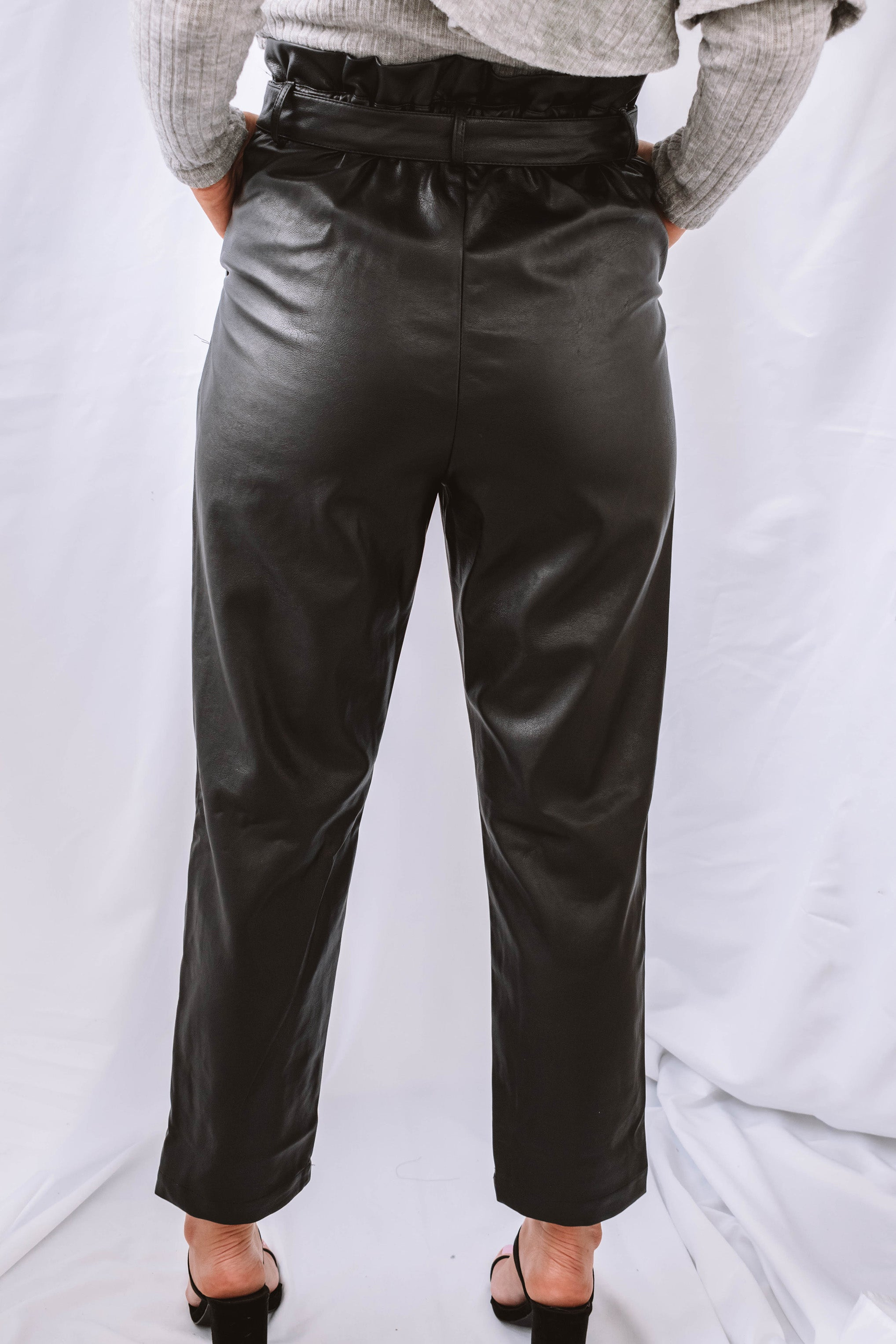 Estelle Faux Leather Paper Bag Waist Trouser