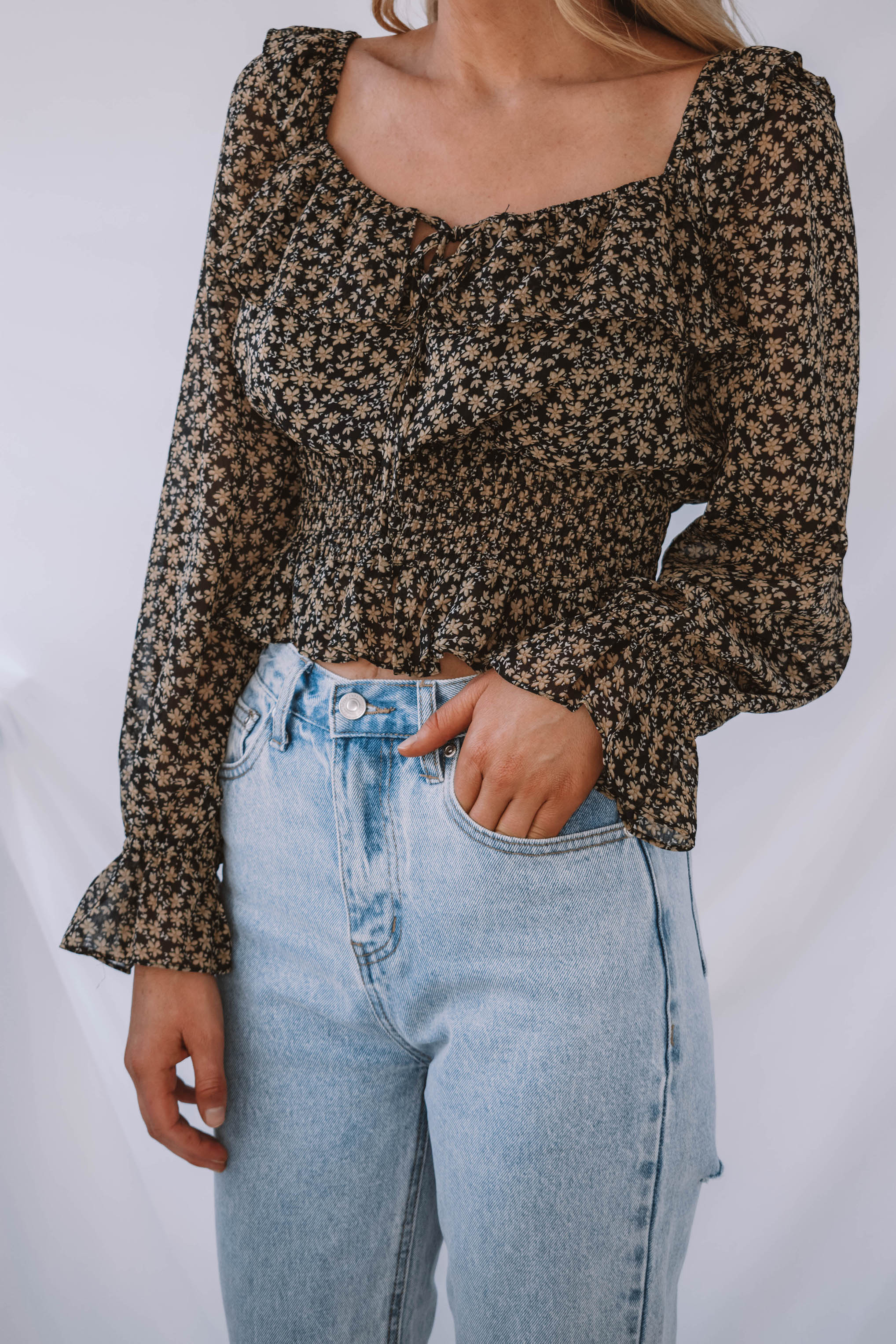 Rosemary Floral Square Neck Ruffle Blouse