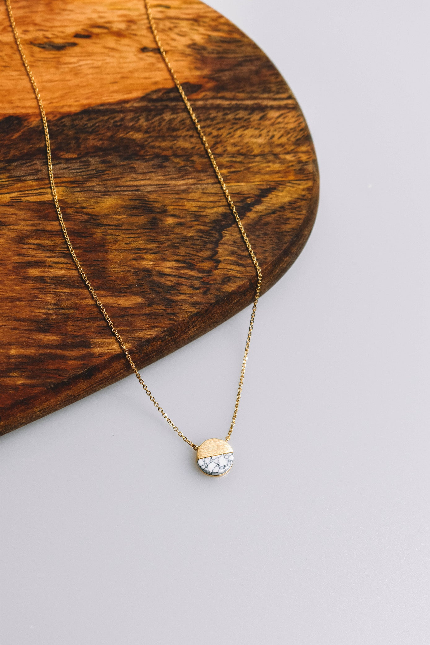 Stone + Metal Circle Necklace