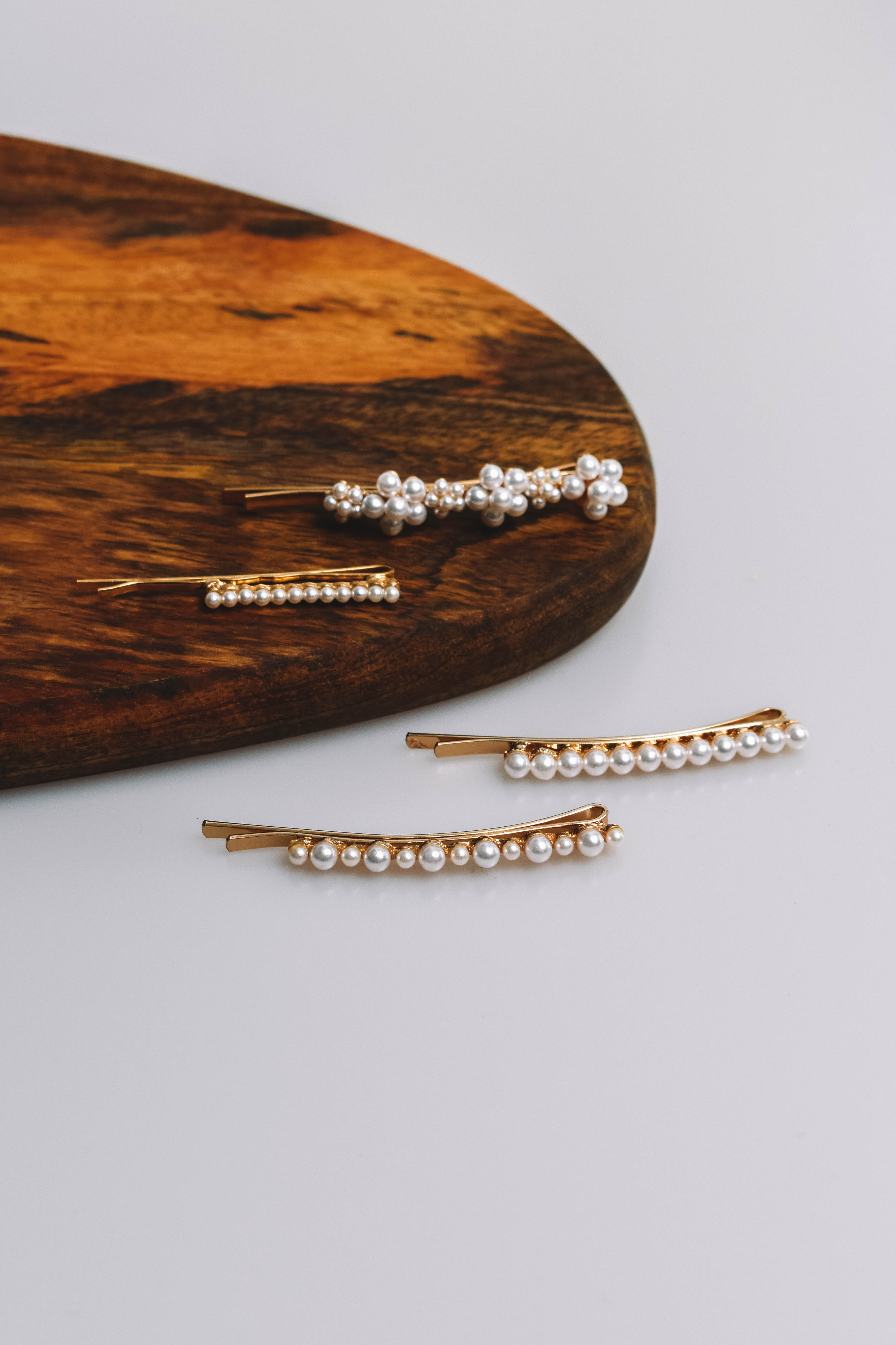 Gold + Pearl Hairpin Set