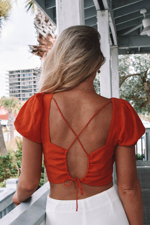 Isle Cross Tie Top - Orange