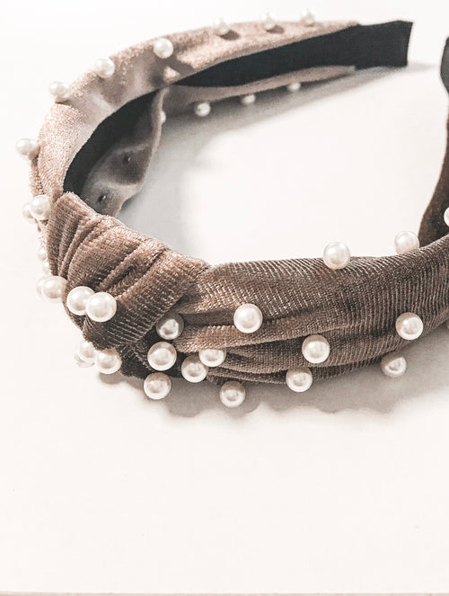 Knotted Pearl Headband - TAUPE
