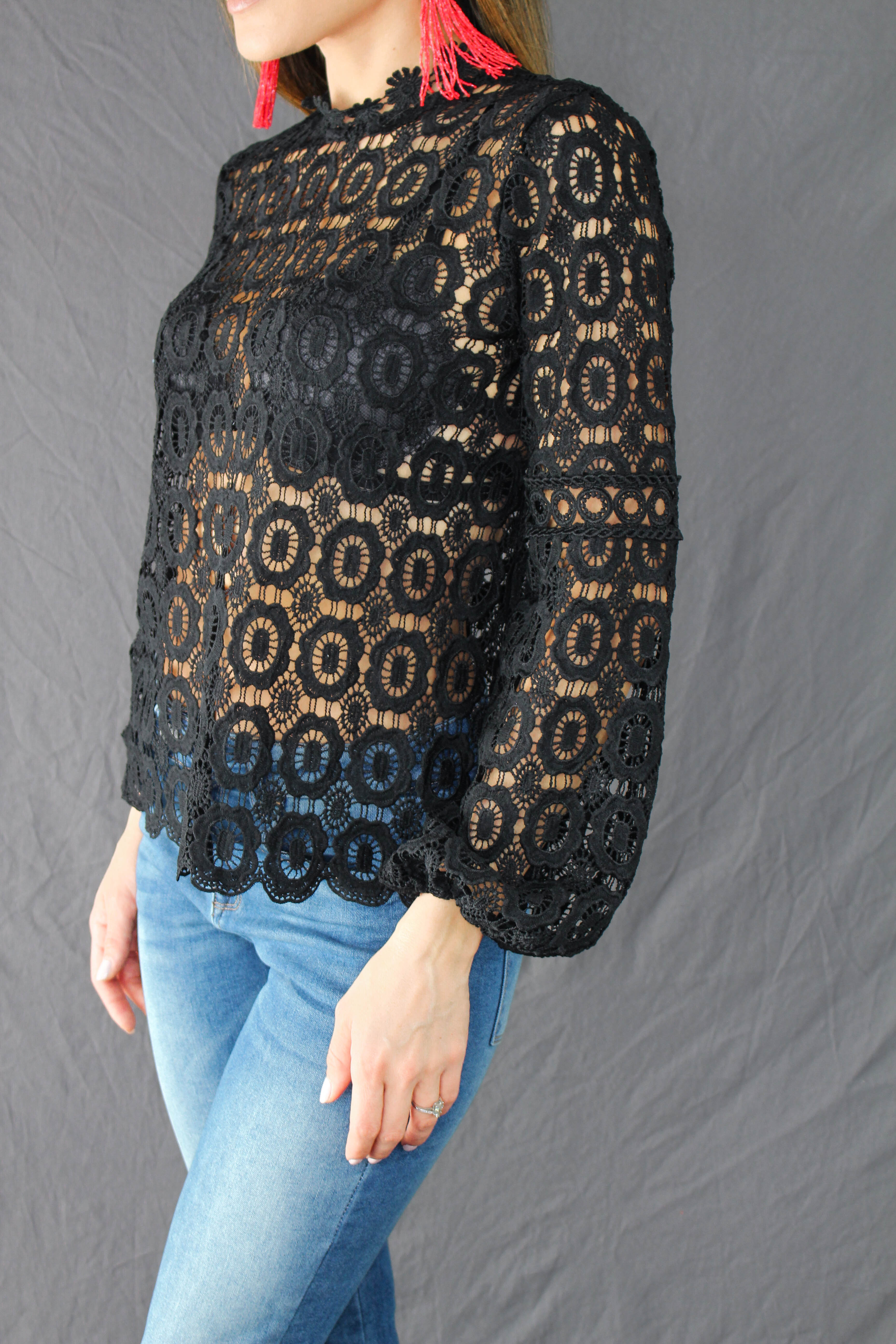 Hadley Lace Top - BLACK