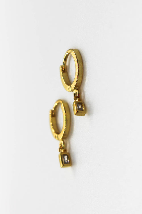 Mini Drop Huggie Earring - GOLD
