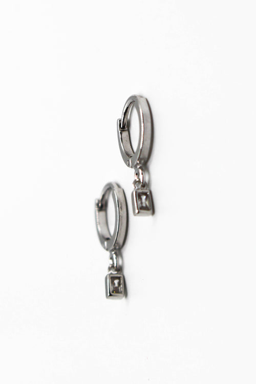 Mini Drop Huggie Earring - SILVER