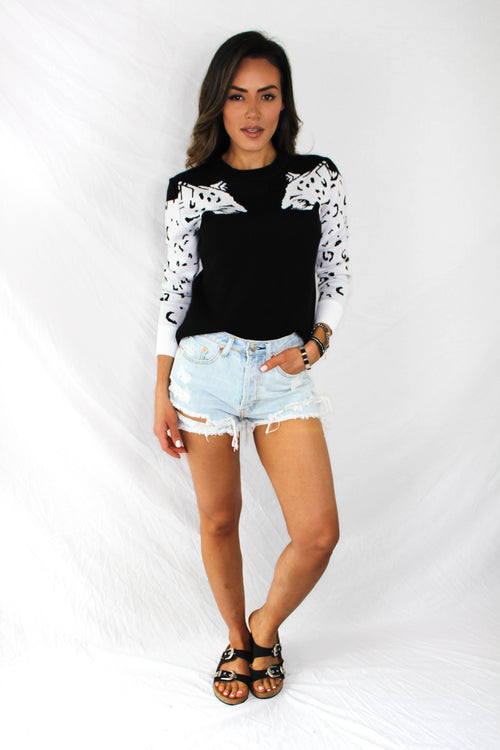 Aysen Leopard Sweater - BLACK