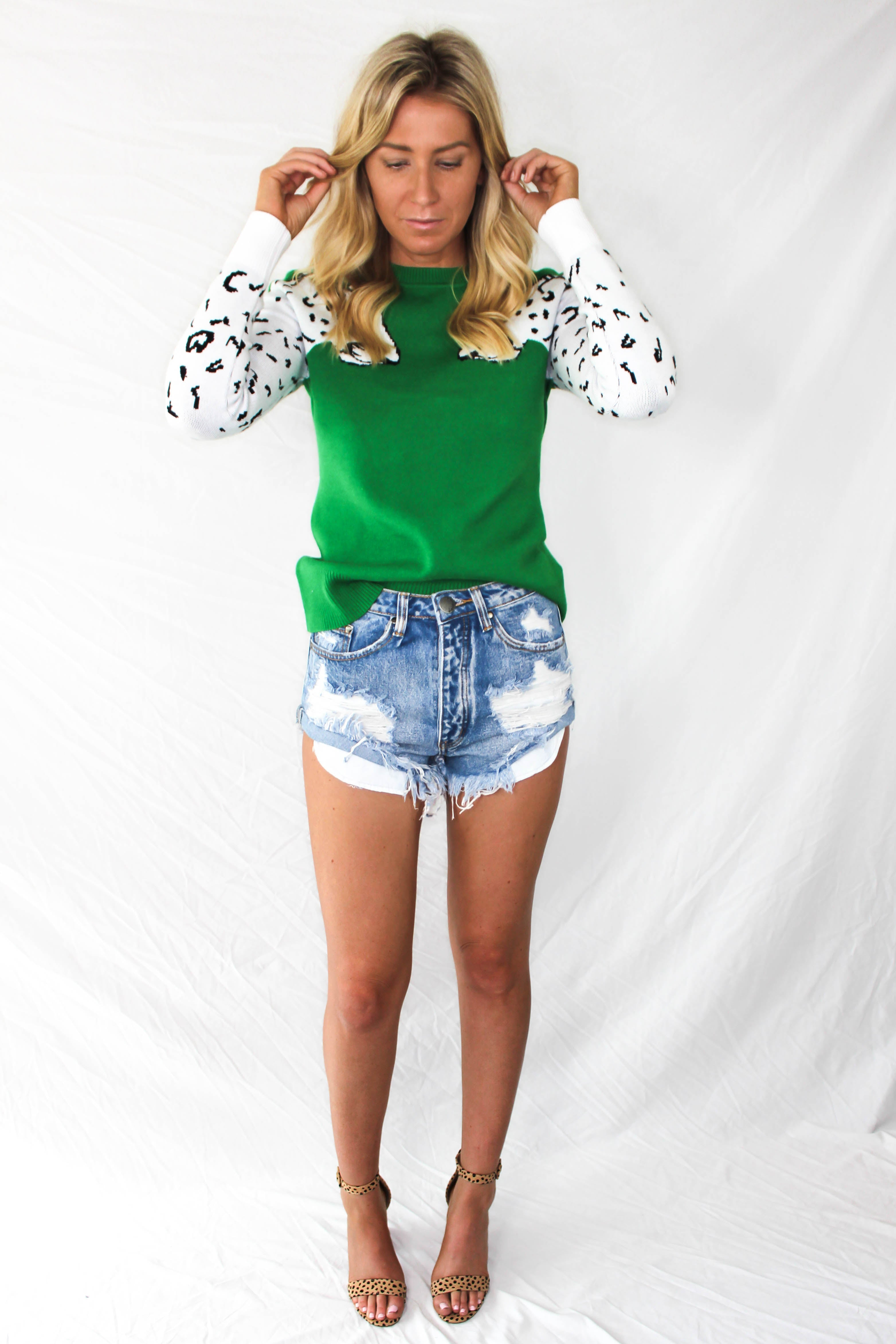 Aysen Leopard Sweater - GREEN