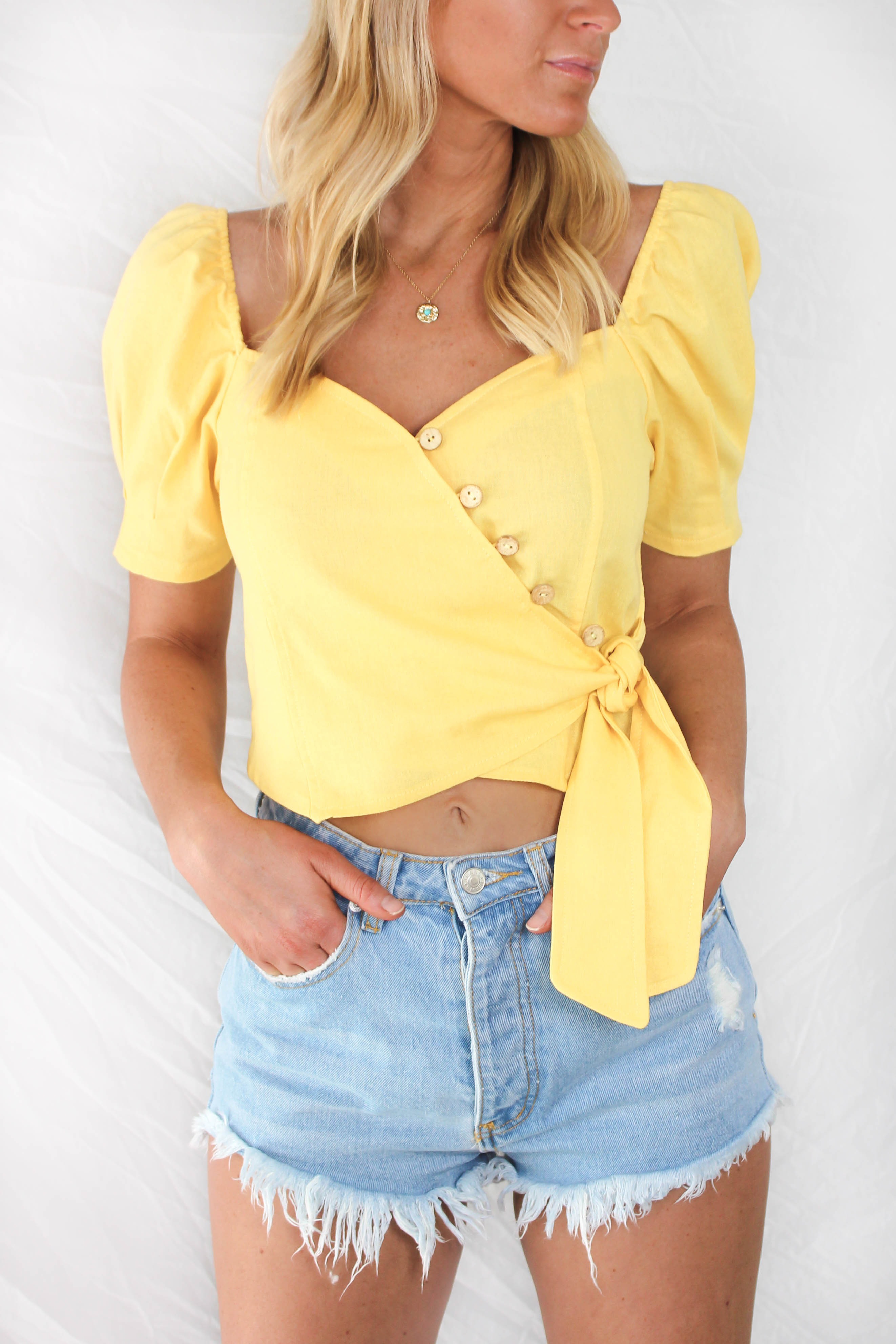 Thira Puff Sleeve Wrap Top