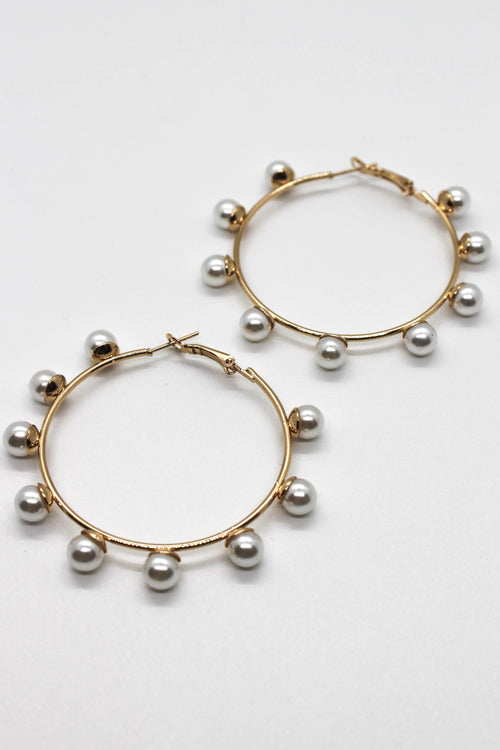 Closed Pearl Hoop Earring