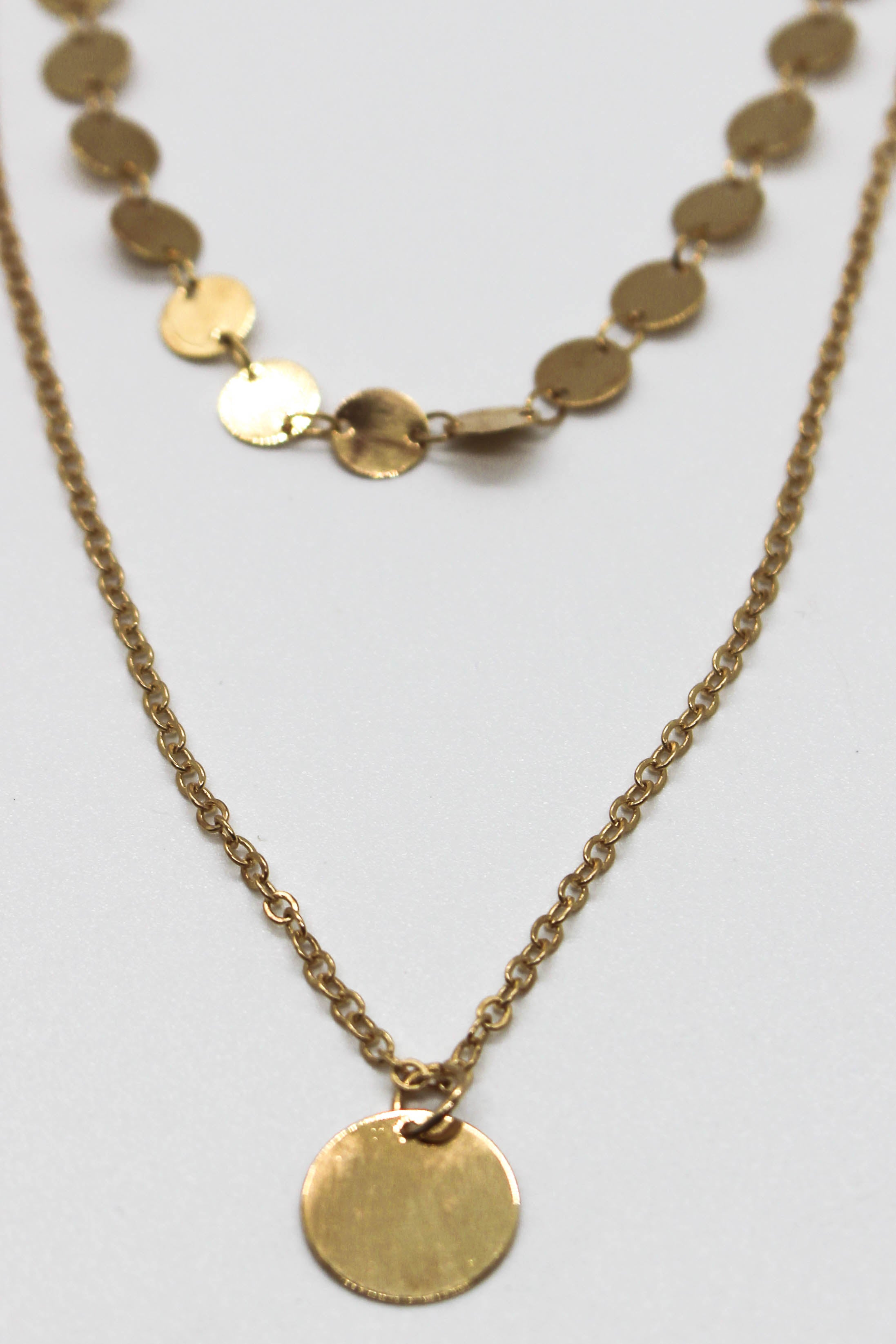 Disc Pendant Choker Set - GOLD