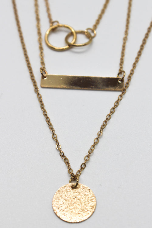 Coin + Bar Necklace Set