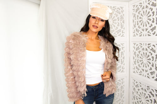 Shaggy Buffalo Jacket - Blush