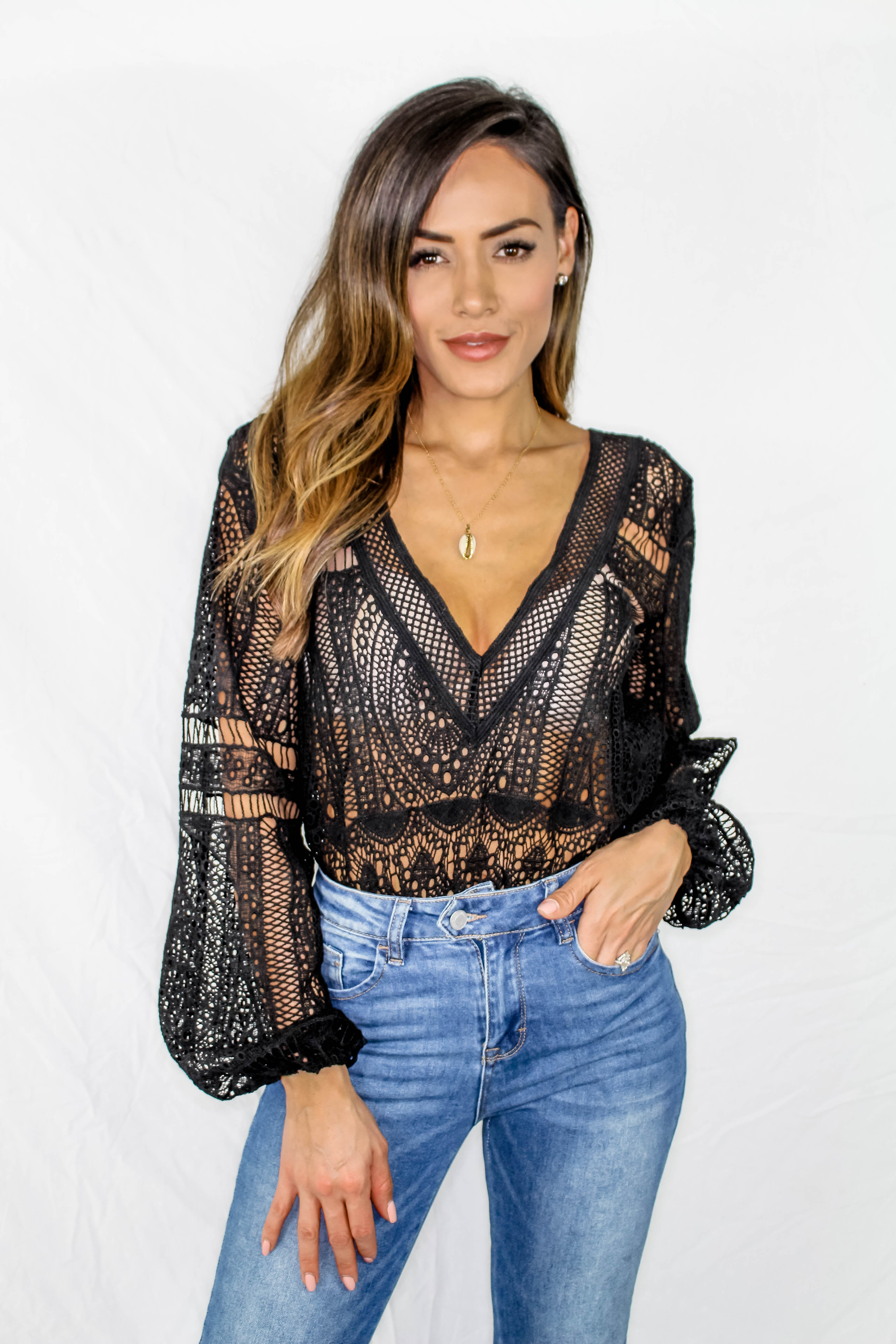 Prescott Lace Bodysuit - BLACK