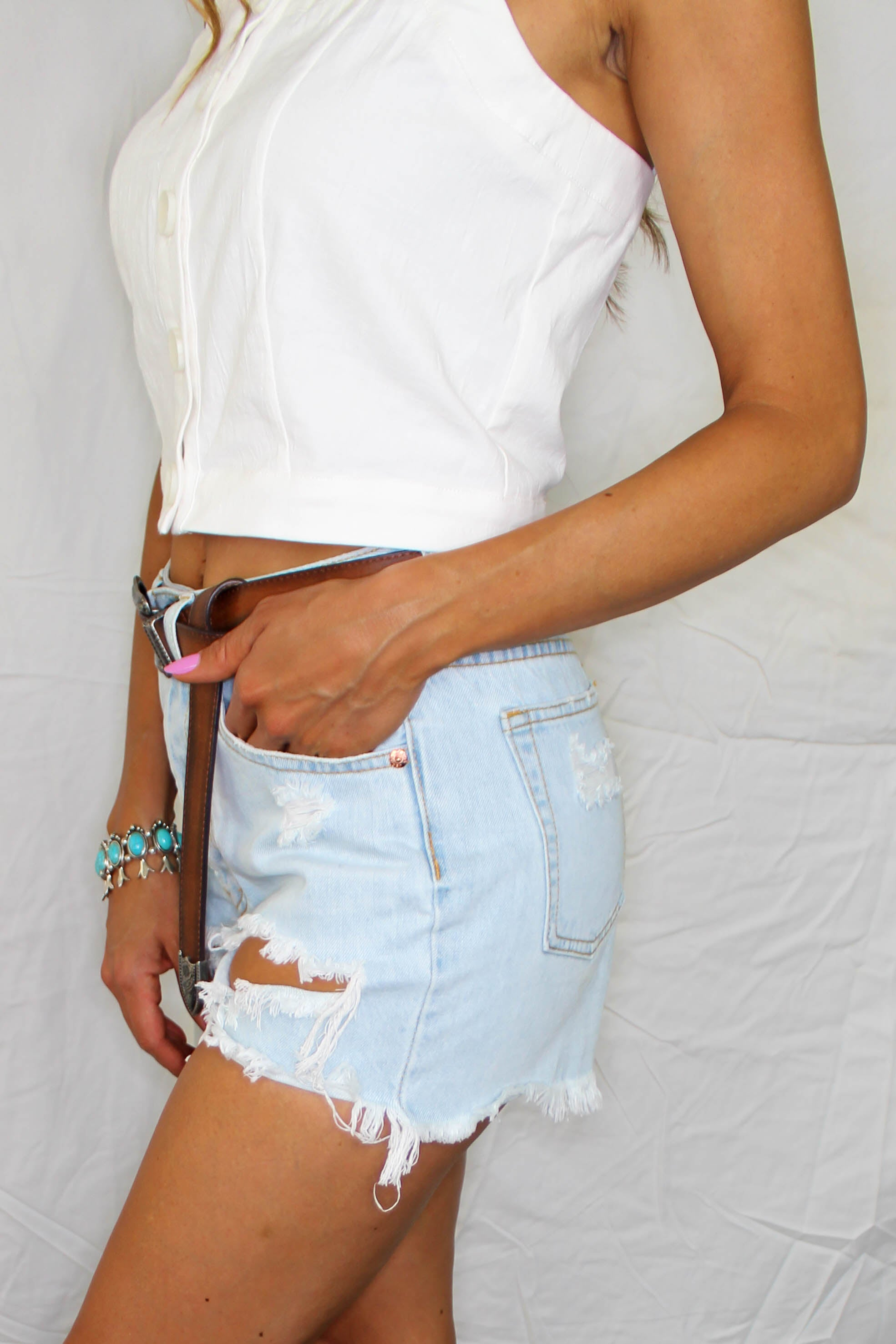 Coral Bay Distressed Denim Shorts