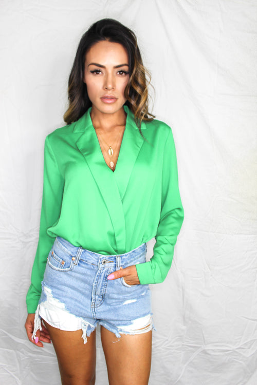 Bonifay Collared Bodysuit - KELLY GREEN