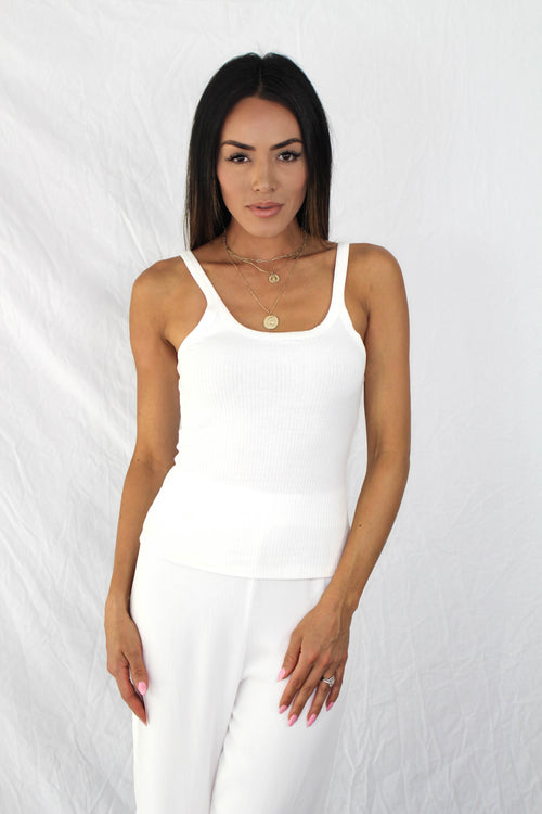 Jasper Ribbed Tank in White