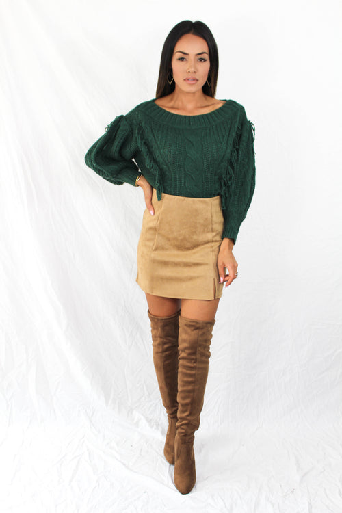 Colburn Faux Suede Skirt in Camel