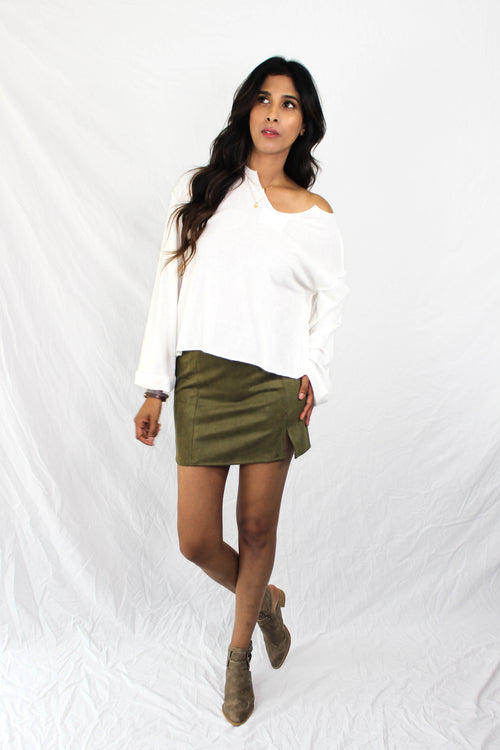 Colburn Faux Suede Skirt in Olive
