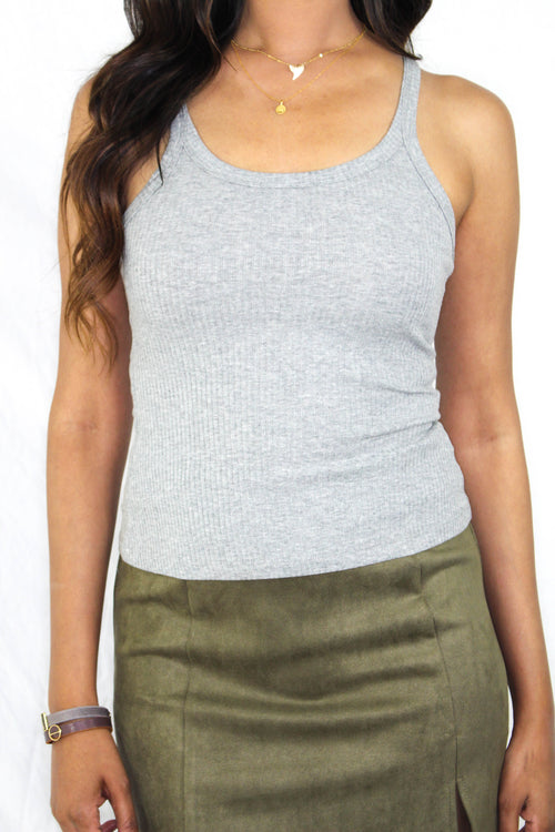 Jasper Ribbed Tank in Grey