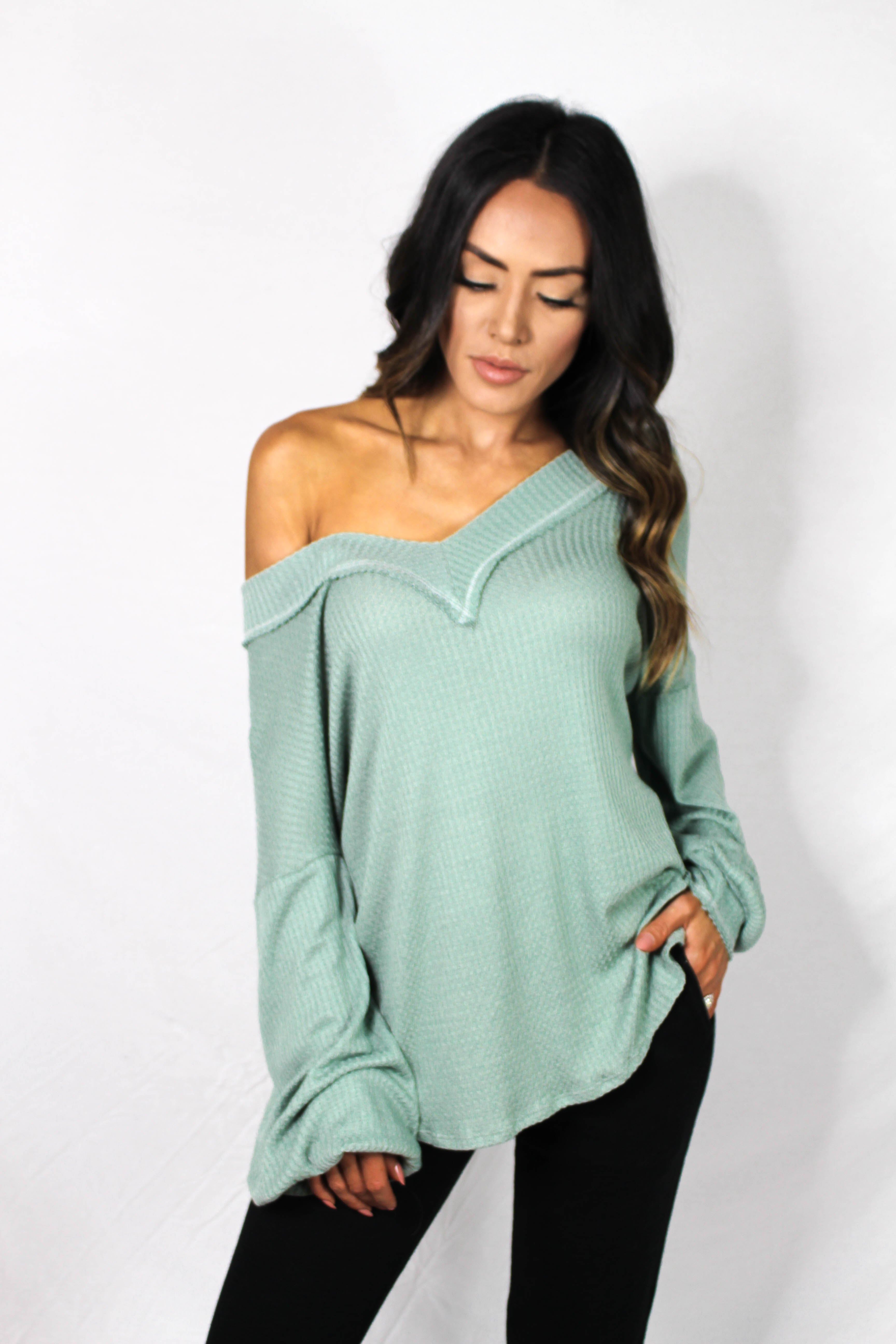 Aska Thermal v-neck - SAGE