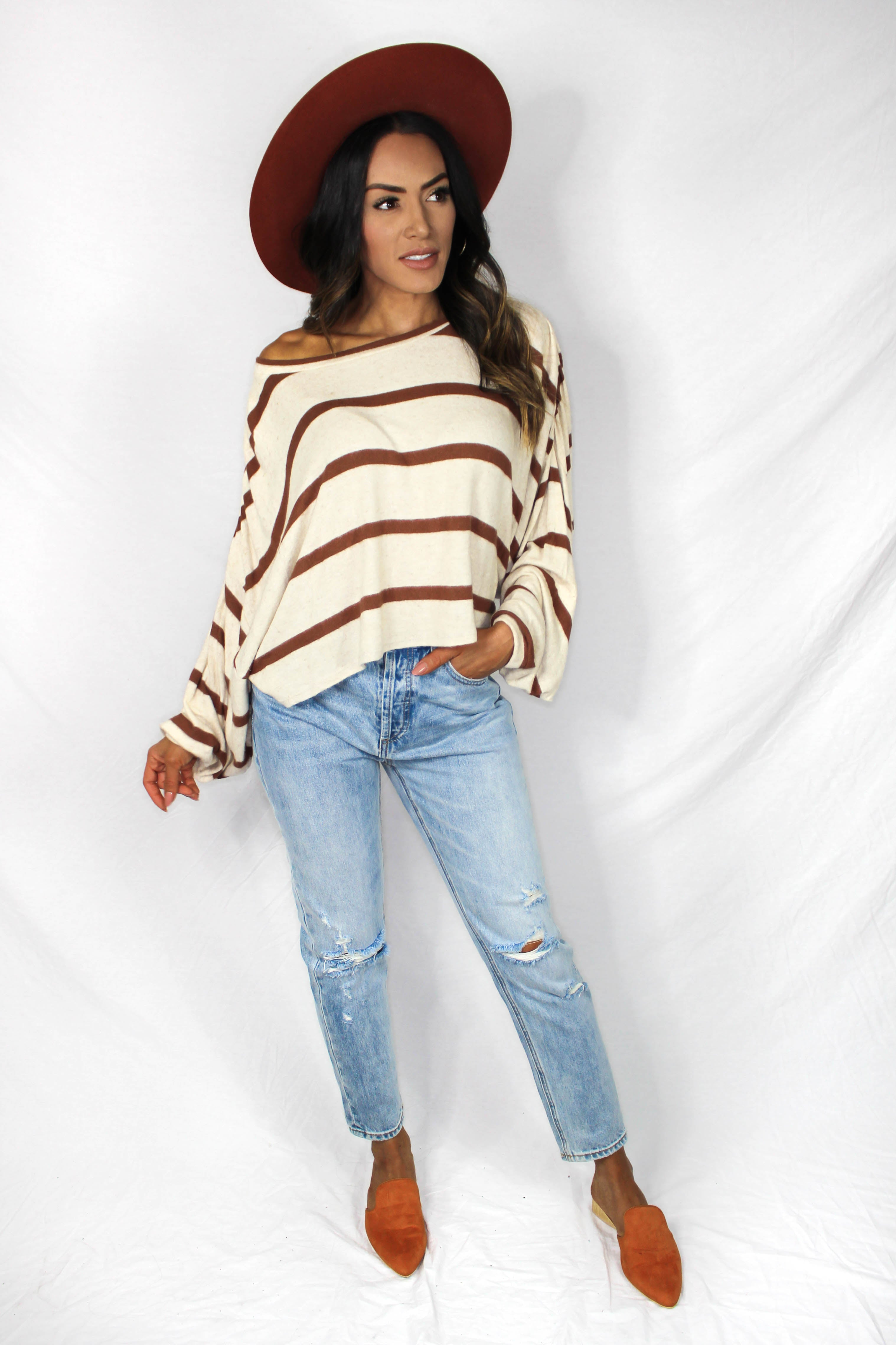 Lemie Striped Balloon Sleeve Top