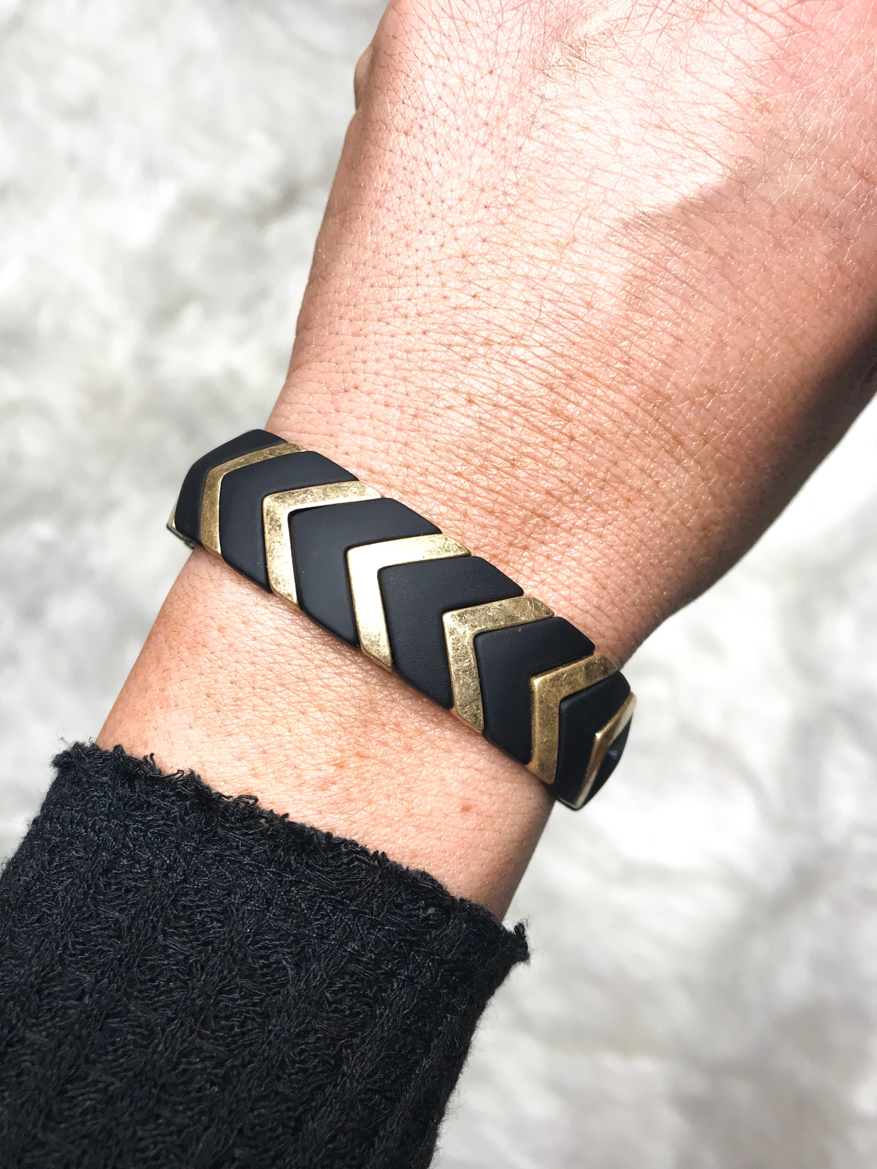 Geo Stretch Bracelet - BLACK