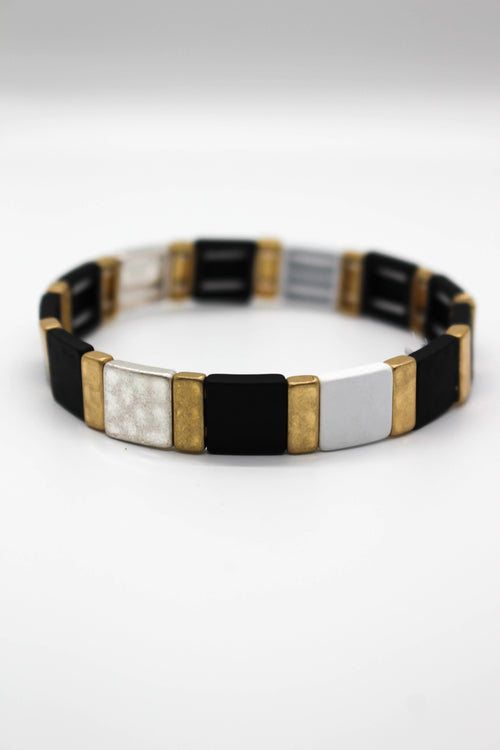 Hammered Square Stretch Bracelet - BLACK