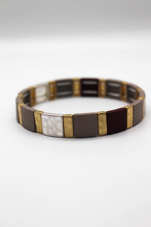 Hammered Square Stretch Bracelet - BROWN