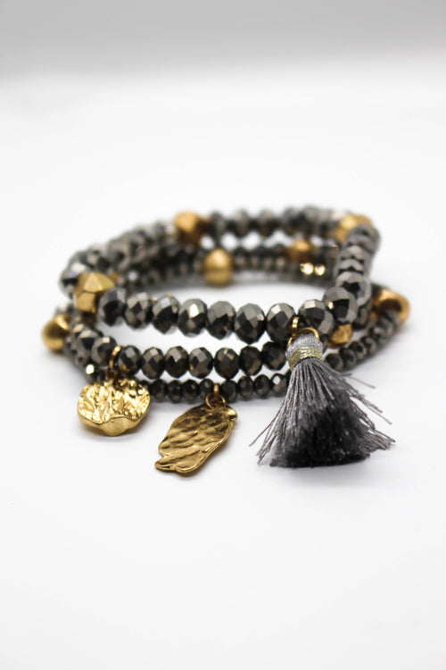Metal Beaded Bracelet Set