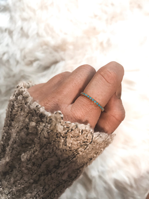 Radius Adjustable Turquoise Ring - GOLD