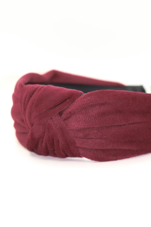 Velvet Knotted Headband - BURGUNDY