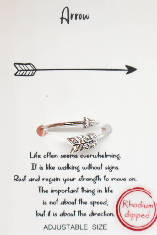 Adjustable Arrow Ring - SILVER
