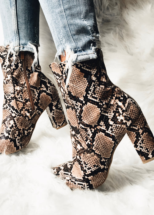 Questa Faux Snake Ankle Bootie