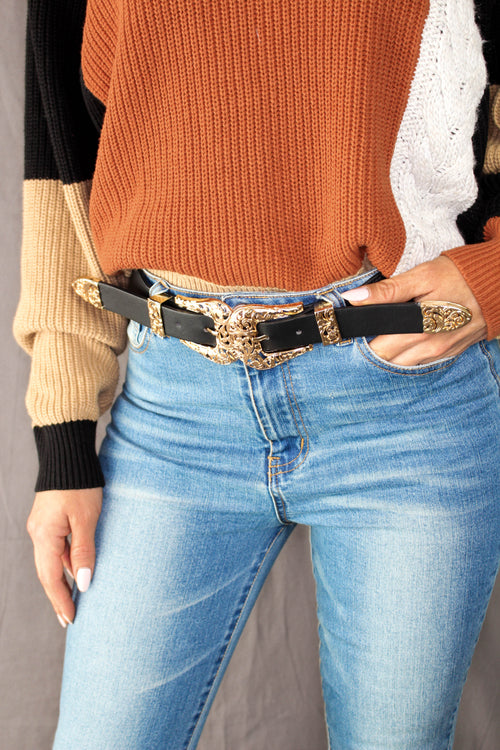 Double Buckle Belt with elastic closure - GOLD