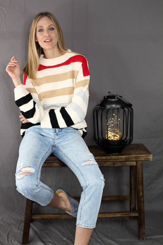 Mattie Striped Balloon Sleeve Top