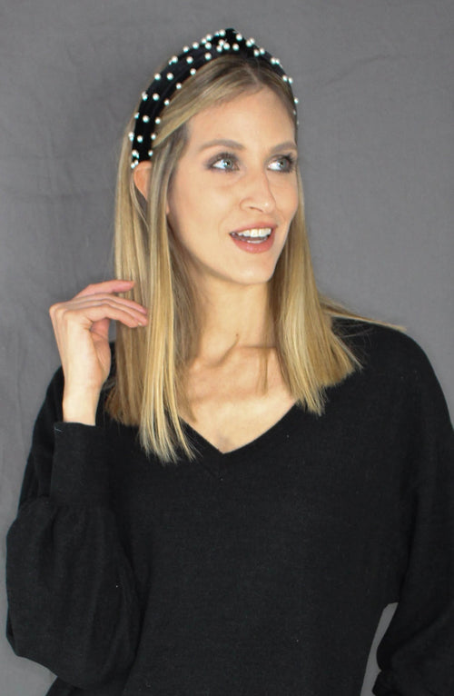 Knotted Pearl Headband - BLACK