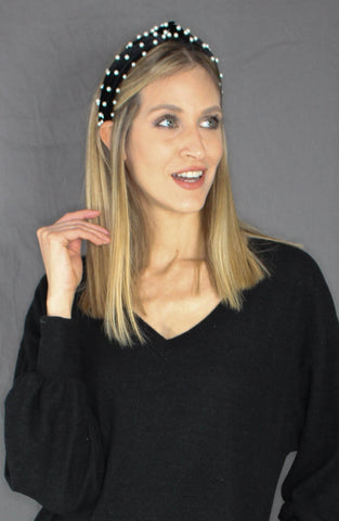 Velvet Knotted Headband - BLACK