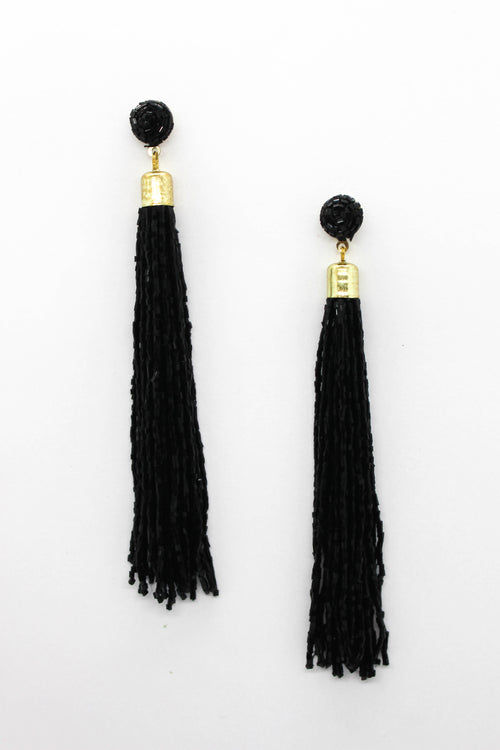 Beaded Tassel Earring - BLACK