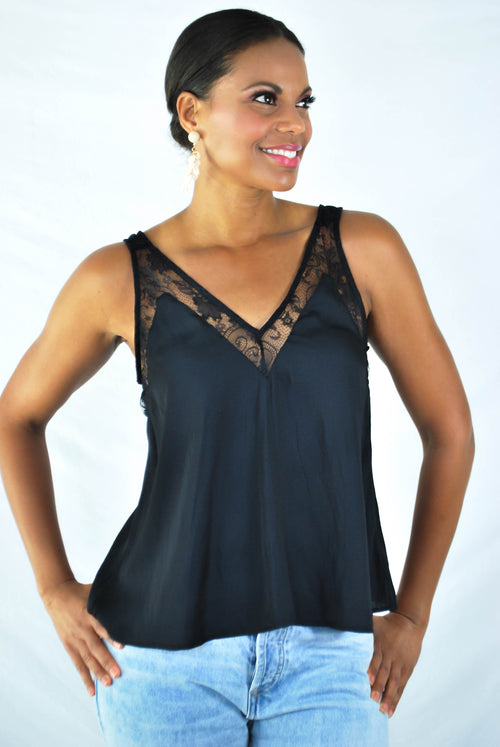 Windley Lace Tank Top - BLACK