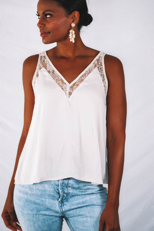 Windley Lace Tank Top - ECRU