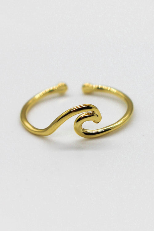 Cutout Wave Adjustable Ring - GOLD