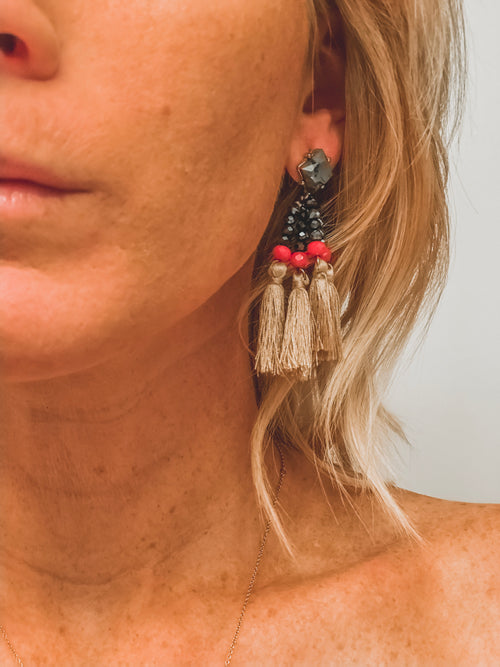 Tri Color Tassel Earring
