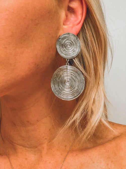Double Coin Earring - SILVER