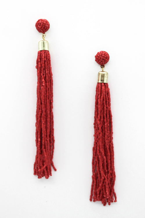 Beaded Tassel Earring - RED