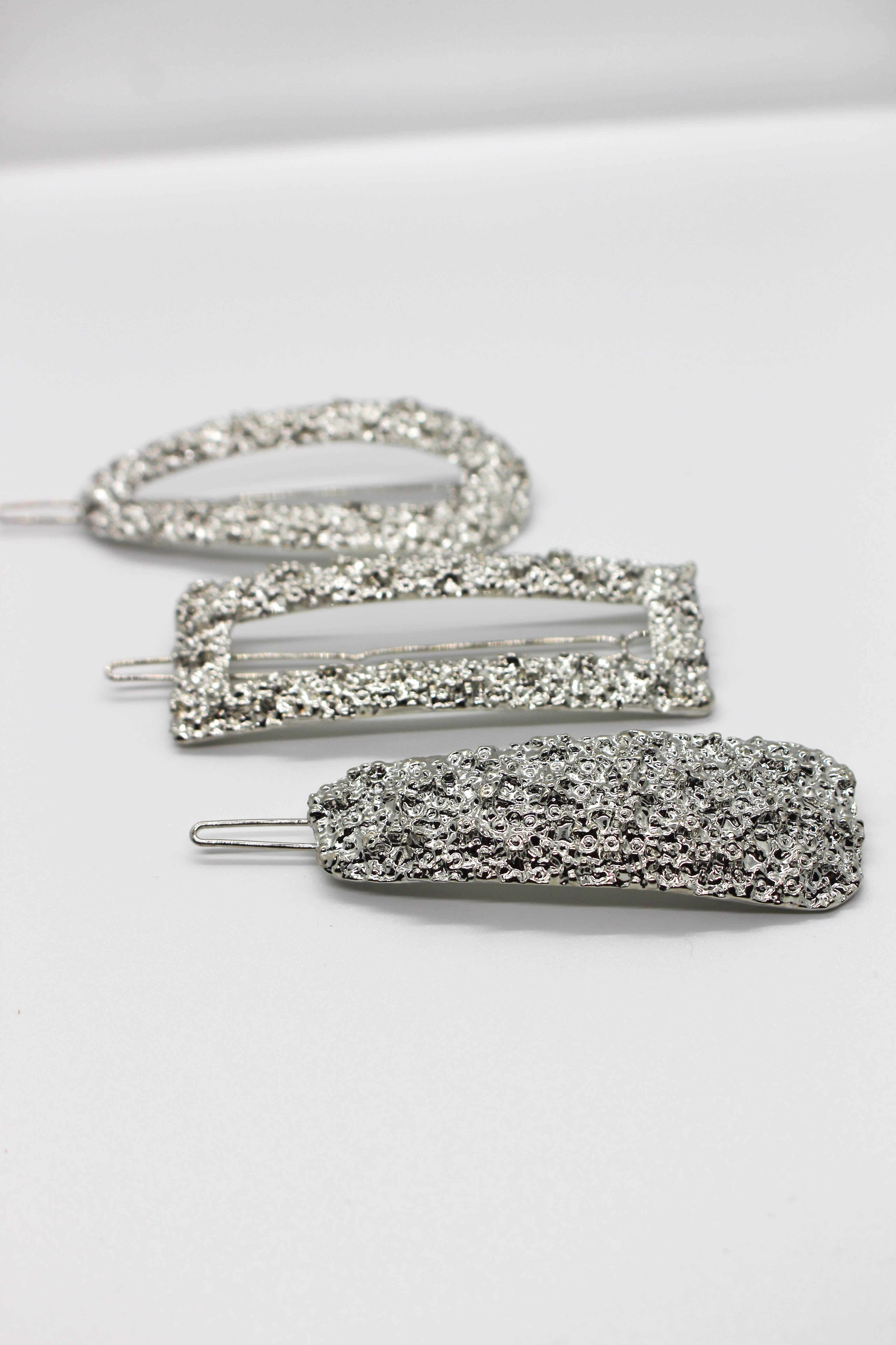 Hammered 3-Piece Hair Clips - SILVER
