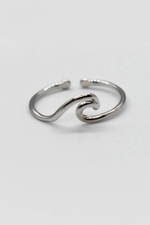 Cutout Wave Adjustable Ring - SILVER